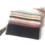 "Foldover Clutch, Purse, Mexican bag, ""Oaxaca Collection"" Bronze leather tassel."