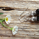 Black Onyx Gemstone & Tibetan Bead Earrings