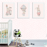"""Whimsical Bunny"" (Pink) Children's Wall Art Prints - Set of 3"