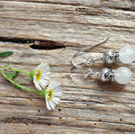 Natural White Jade Gemstone & Tibetan Bead Earrings