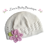 Baby Hat * Toddler Hat * Baby Beanie * Girls Flower Hat * Pink * White * ZBB