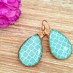 Aqua, Rose Gold Teardrop Glass Earrings