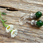 Natural Emerald Gemstone & Tibetan Bead Earrings