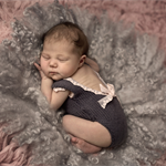 Short Sleeved Newborn Knitted Romper with Deep V Back / Grey with Pink Lace