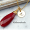 Ruby Necklace,July Birthstone Necklace,Initial Necklace,40th Anniversary