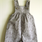 Overalls, vintage design. Rompers. One only Size 000. Grey Rabbits. Button Yoke.