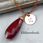 Ruby Necklace,July Birthstone Necklace,Personalized Rose Gold Initial Necklace
