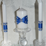 Set of 3 Beautiful Decorated Lace & Pearls Candles - 2 Taper & 1 Pillar Candle