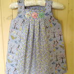 Bunny Dress with Front Pleat and yo-yo's. One only, size 2. Grey Rabbits.