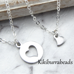 Mother And Daughter Necklace Set,Heart Charm Necklaces,Mother  Daughter Necklace