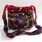 Unique felt wool and fabric crossbody bag. Alpaca, wool and cotton.