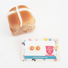 Hot cross bun polymer clay stud earrings - Easter Bun studs - Easter studs