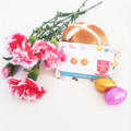 Hot cross bun polymer clay stud earrings - Easter Bun studs - Easter studs