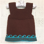 Baby Vest, 1 yr, Brown & Aqua Wool, Hand Knit