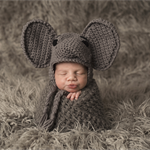 Baby Elephant Bonnet / Unisex Newborn Photography Prop /  Baby Boy Prop