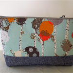 Clutch, cosmetic bag, pouch. Zip top, large opening.