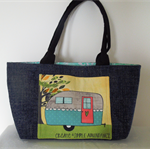 Tote Bag, Hand Bag Caravan, pockets, Vintage Camper. Shopper.