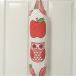 Large plastic bag holder. owls and apples.