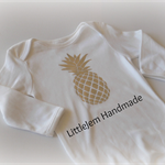 Sz 0 Baby Onsie Custom printed ~ Silver Foil Pineapple ~ Ready to post!