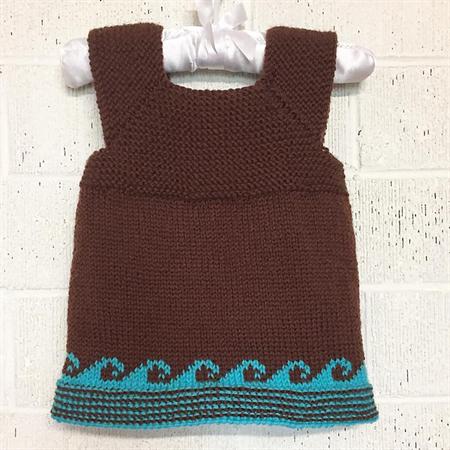 Baby Vest, 1 yr, Brown & Aqua Wool, Hand Knit