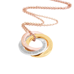 Inspirational quote pendant - Triple link Rose Gold, Yellow gold & silver