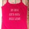 Yoga Singlet - Size 8 - Hot Pink Thin Strap Singlet White Print
