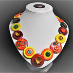 Beaut Buttons - Hot Tomato button necklace