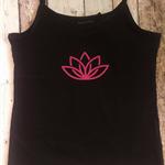 Yoga Singlet - Size 12 - Black Thin Strap Singlet Pink Print