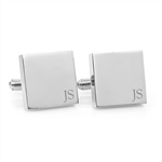 Minimalist Monogram - Engraved personalized square silver cufflinks