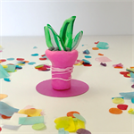 Miniature Fantasy Garden - Pink Polymer clay pot plant /succulent / sculpture