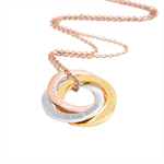 Family pendant necklace - Triple link Rose Gold, Yellow gold & silver