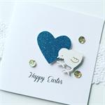 Wooden lasercut easter chicken chick chook aqua glitter heart sweet card