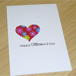 Modern Happy Mother's Day card - heart with flowers