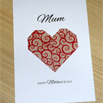 Mother's Day card - origami heart