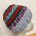 Child's Beanie Hat, FREE POST , Grey - Blue - Green, Hand-Knit, Wool