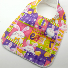 Easter Baby/Toddler Bib, Cute Easter Bunny Cotton Fabric.