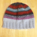 Child's Beanie Hat, FREE POST , Grey - Blue - Green, Hand-Knit, Wool