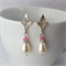 Art deco style cream pearl & pink crystal earrings