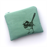 Screen printed wren purse - turquoise