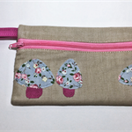 Pencil Case - Floral Mushrooms