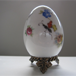 hand painted porcelain Limoges egg on stand