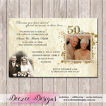 50th Golden Photo Personalised Wedding Anniversary Invitation - YOU PRINT