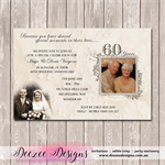 60th 70th Photo Personalised Wedding Anniversary Invitation - YOU PRINT