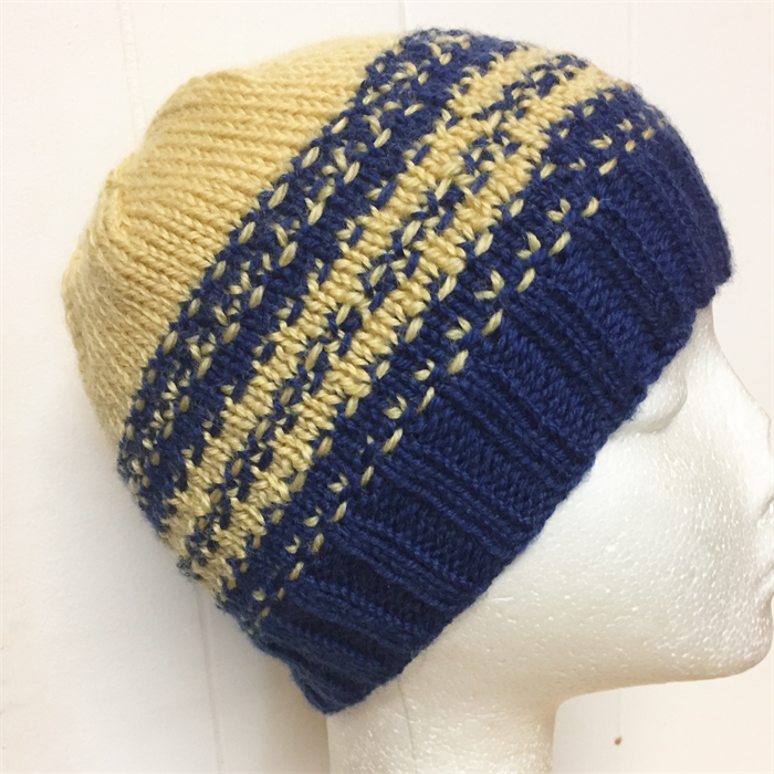 88751640c Hand-Knit, Child, Wool, Beanie Hat, Yellow - Blue | Made For Little ...