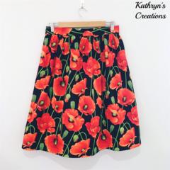 Free Shipping - Ladies' Tea Length Skirt - Poppy Print - Size 10