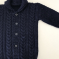 Navy Cable Front Jacket - Size 2-3 years - Handknitted in wool/cashmere blend