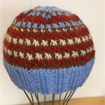 Hand-Knit, Toddler, Wool, Beanie Hat, Blue / Red / Brown / Cream