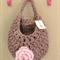 Tan Pink Crochet  Hanging Yarn Basket , t shirt Yarn Basket ,
