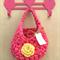 Hot Pink Yellow Crochet  Hanging Yarn Basket , t shirt Yarn Basket ,