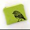 Screen printed robin purse - lime green